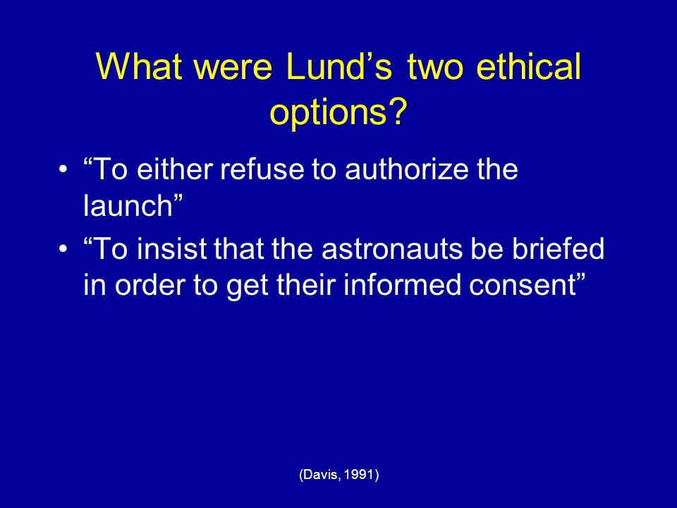 What were Lund's two ethical options