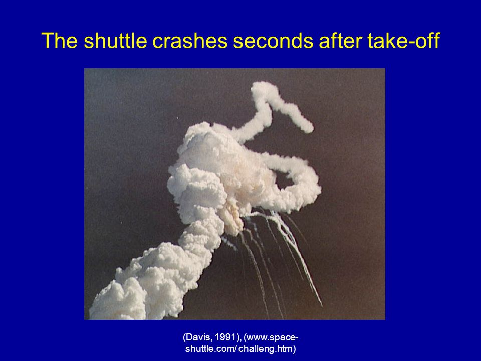 The shuttle crashes seconds after take-off