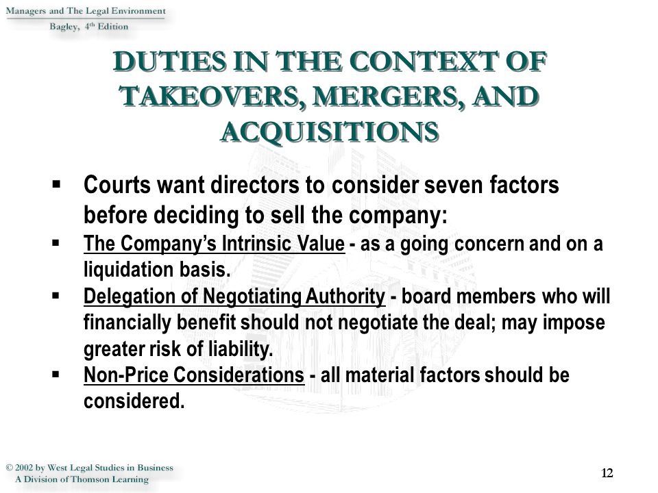 DUTIES IN THE CONTEXT OF TAKEOVERS, MERGERS, AND ACQUISITIONS