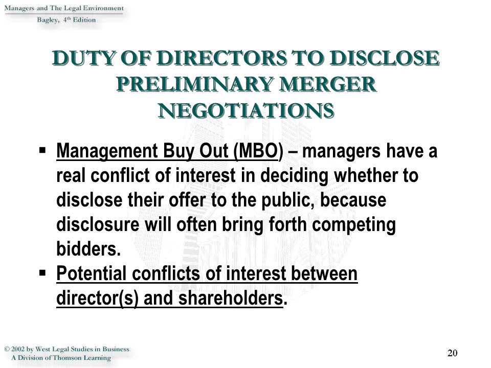 DUTY OF DIRECTORS TO DISCLOSE PRELIMINARY MERGER NEGOTIATIONS
