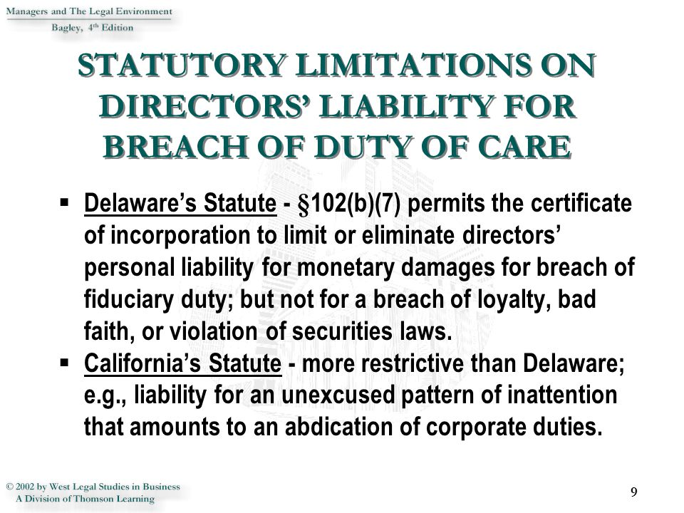 STATUTORY LIMITATIONS ON DIRECTORS' LIABILITY FOR BREACH OF DUTY OF CARE