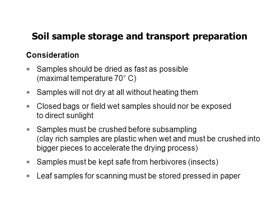 Soil sample storage and transport preparation