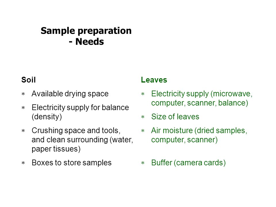 Sample preparation - Needs