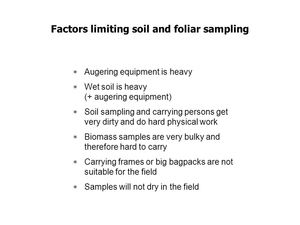 Factors limiting soil and foliar sampling