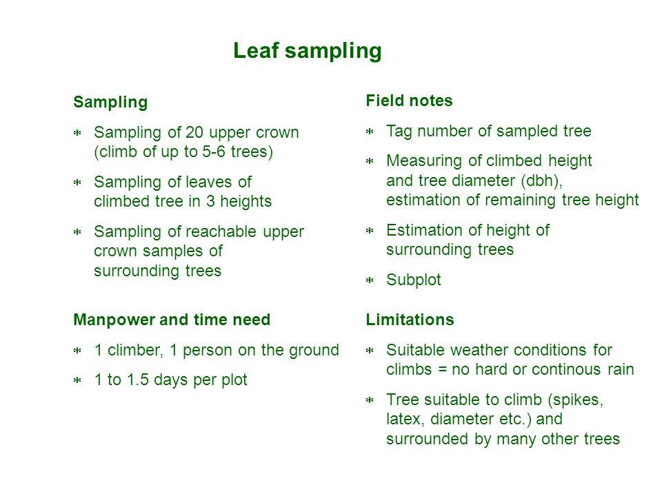 Leaf sampling Sampling