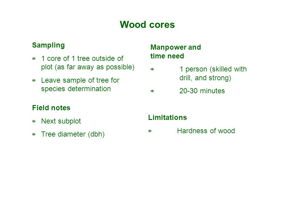 Wood cores Sampling Manpower and time need