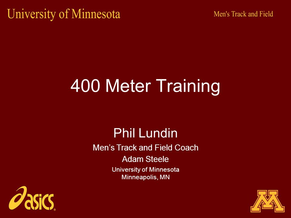 400 Meter Training Phil Lundin Men's Track and Field Coach Adam Steele