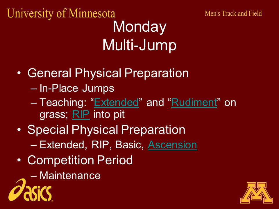 Monday Multi-Jump General Physical Preparation