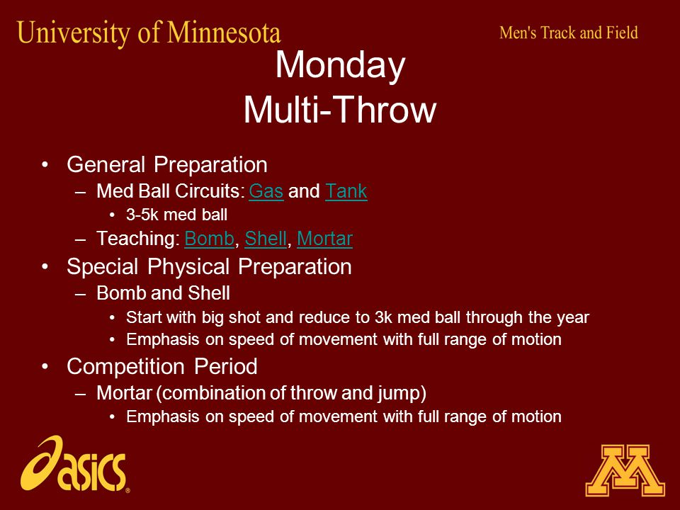 Monday Multi-Throw General Preparation Special Physical Preparation