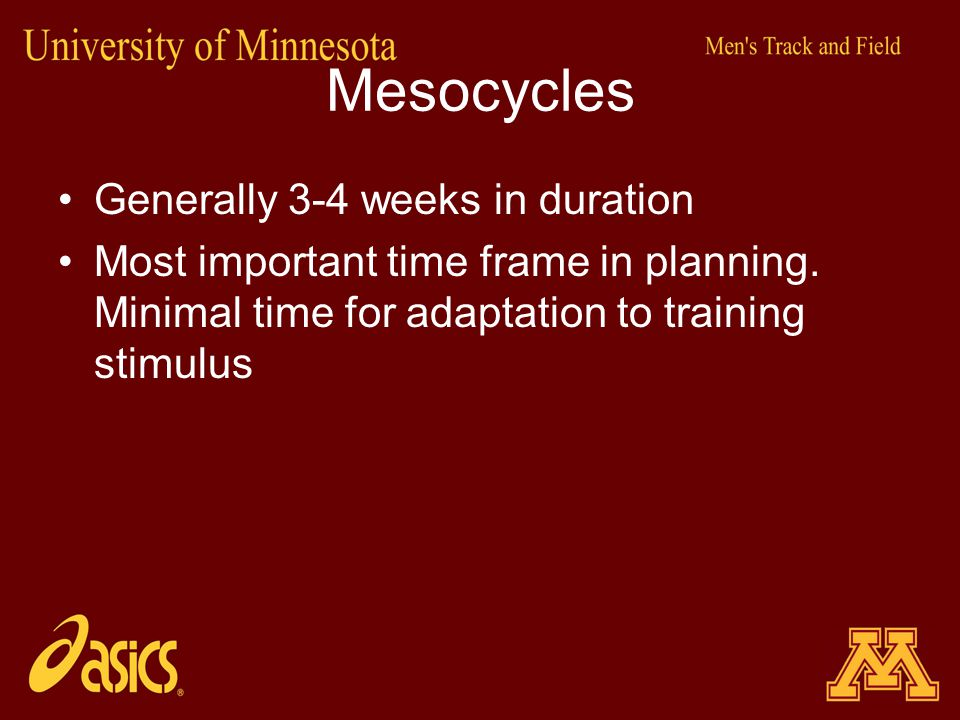 Mesocycles Generally 3-4 weeks in duration