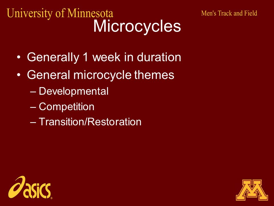 Microcycles Generally 1 week in duration General microcycle themes