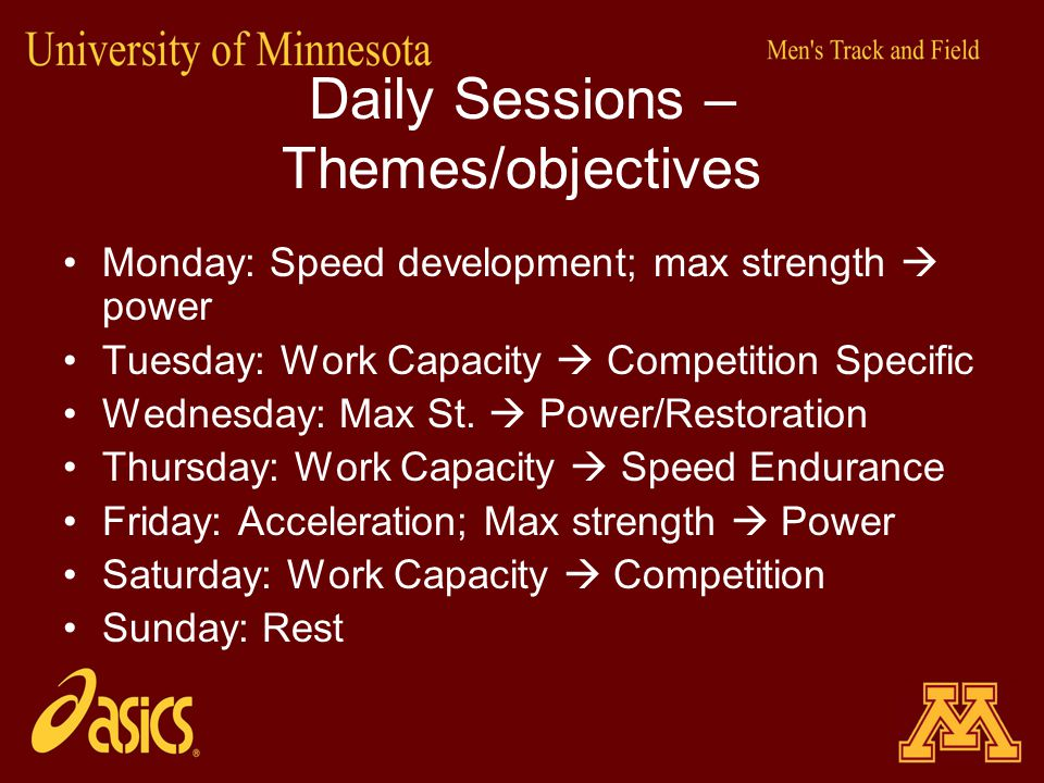 Daily Sessions – Themes/objectives