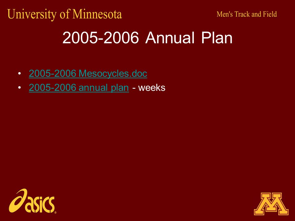 2005-2006 Annual Plan 2005-2006 Mesocycles.doc