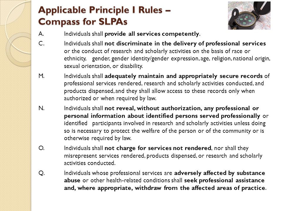 Applicable Principle I Rules – Compass for SLPAs