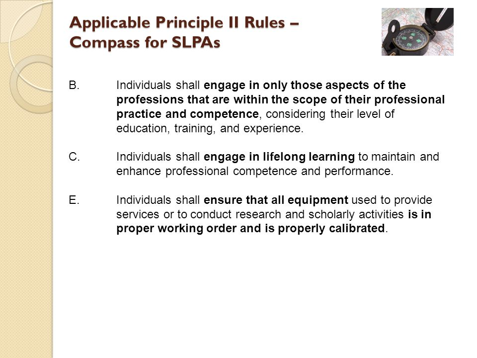 Applicable Principle II Rules – Compass for SLPAs