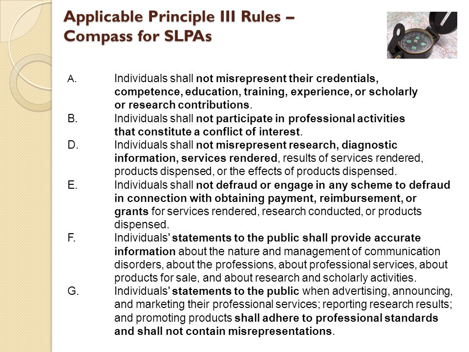 Applicable Principle III Rules – Compass for SLPAs