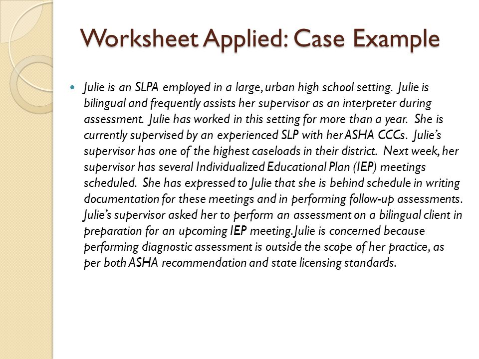 Worksheet Applied: Case Example