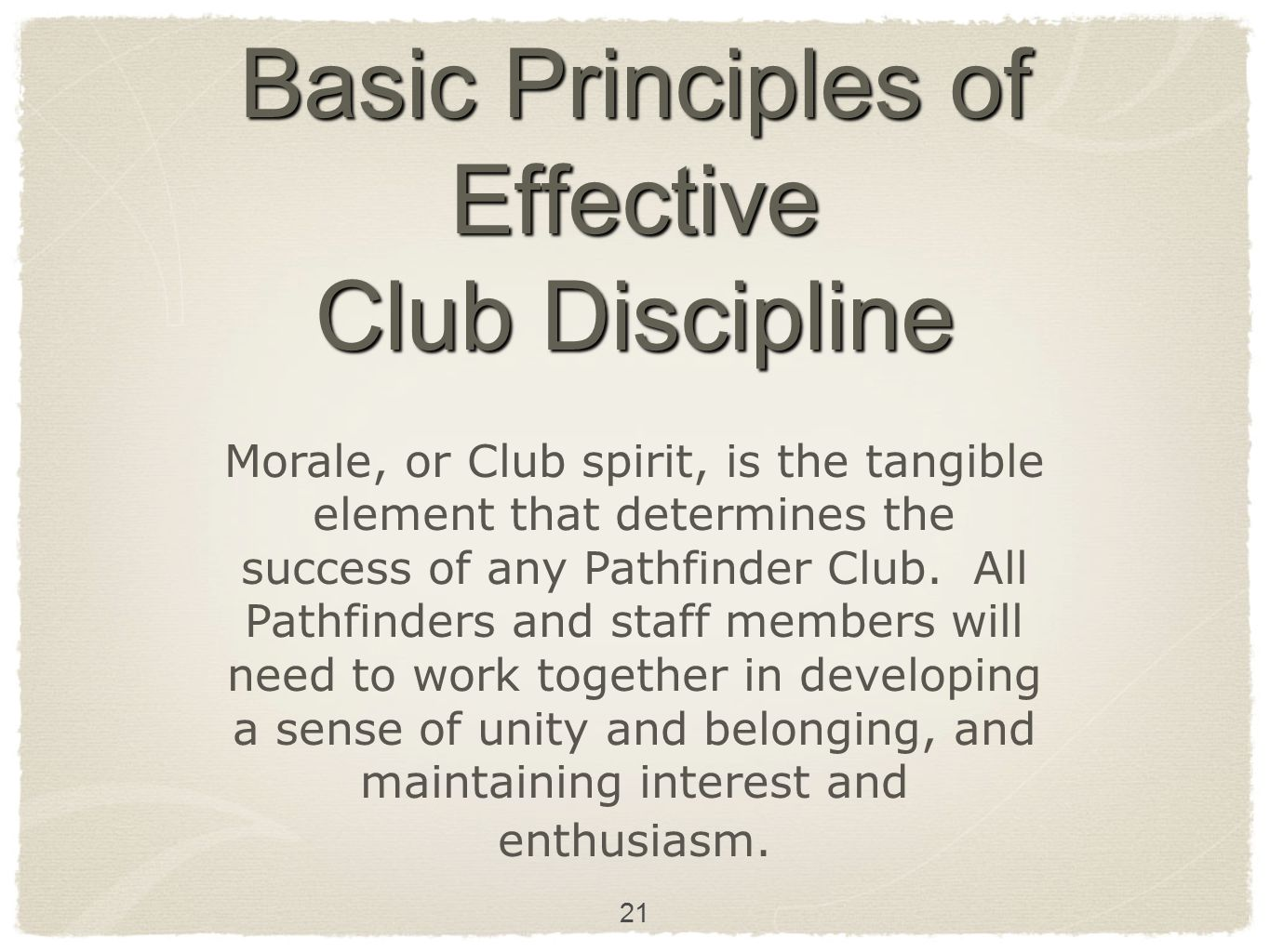 Basic Principles of Effective Club Discipline