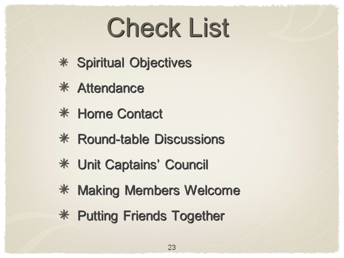 Check List Attendance Home Contact Round-table Discussions