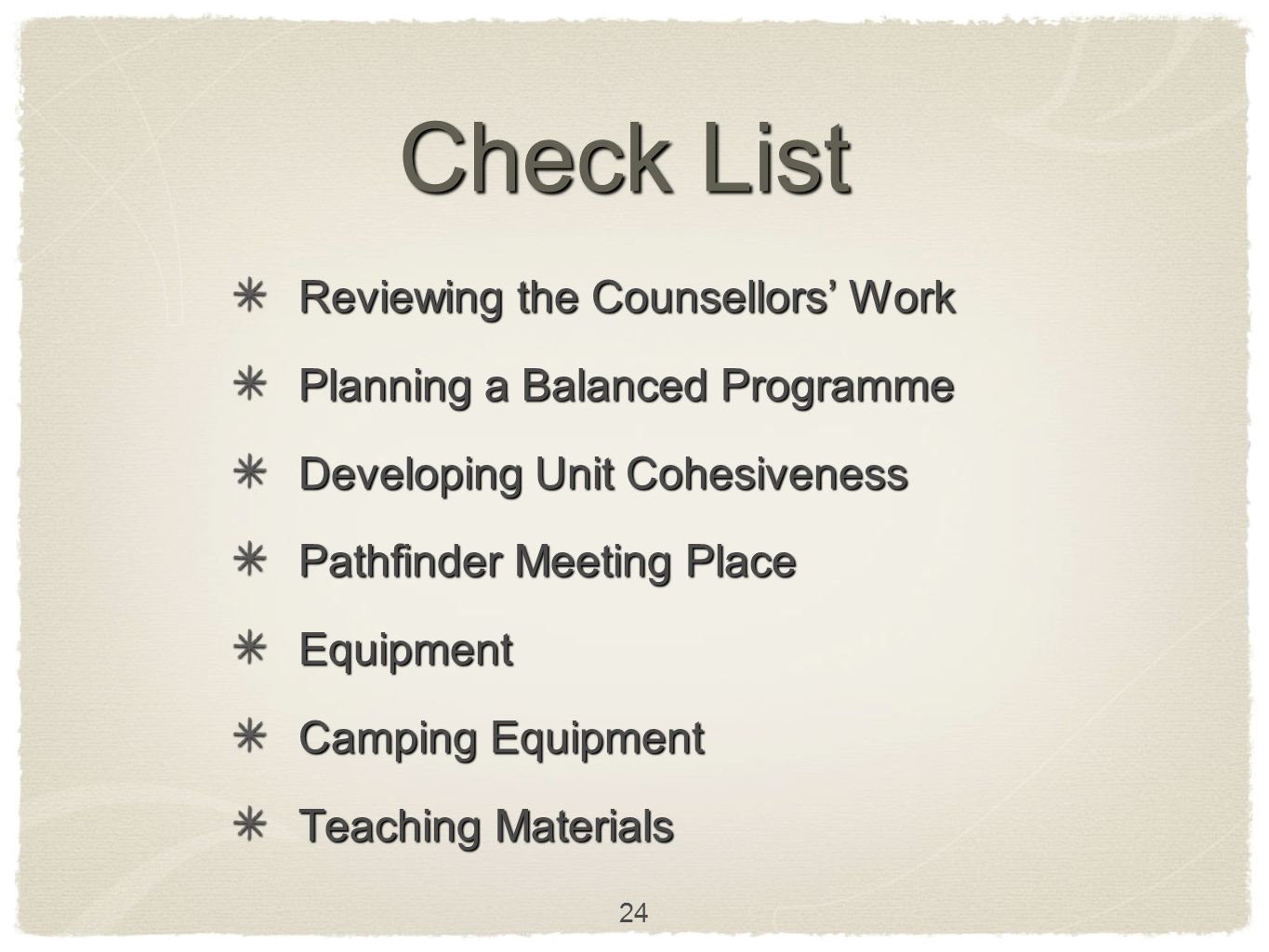 Check List Reviewing the Counsellors' Work