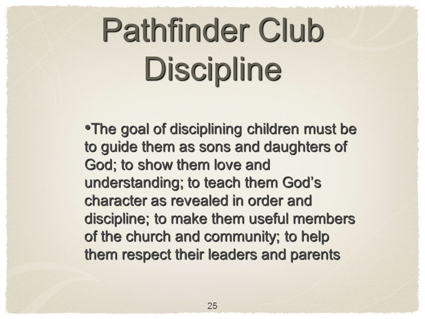 Pathfinder Club Discipline