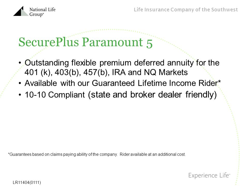 SecurePlus Paramount 5 Outstanding flexible premium deferred annuity for the 401 (k), 403(b), 457(b), IRA and NQ Markets.