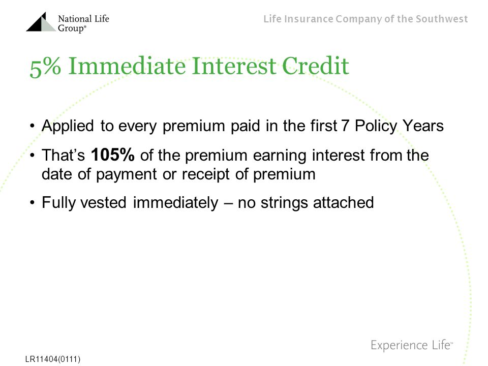 5% Immediate Interest Credit