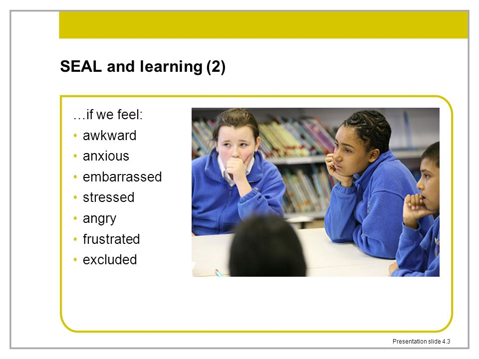 SEAL and learning (2) …if we feel: awkward anxious embarrassed