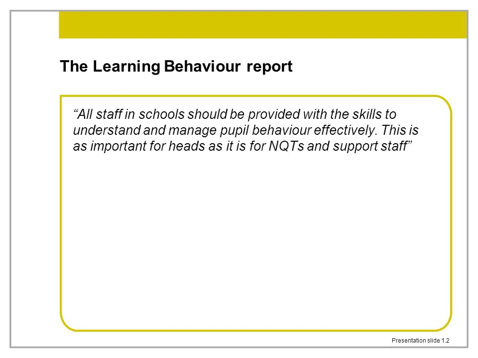 The Learning Behaviour report