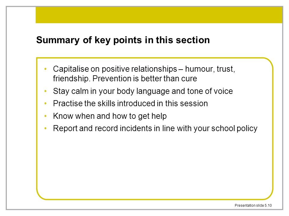 Summary of key points in this section