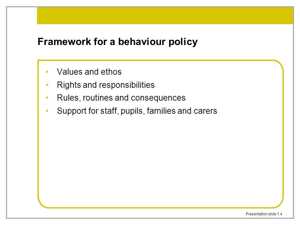 Framework for a behaviour policy