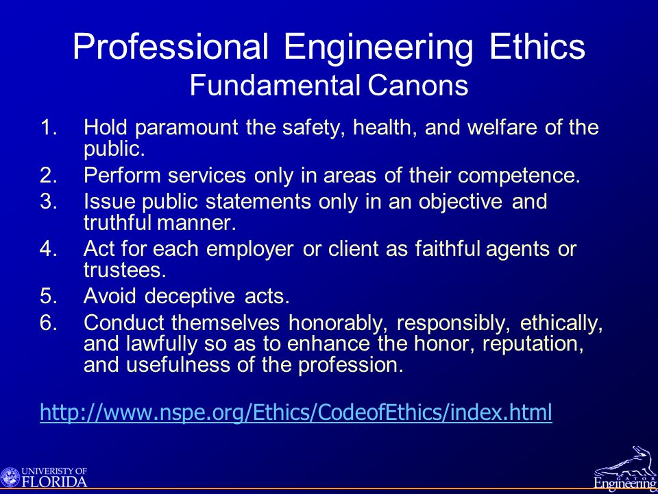 Professional Engineering Ethics Fundamental Canons