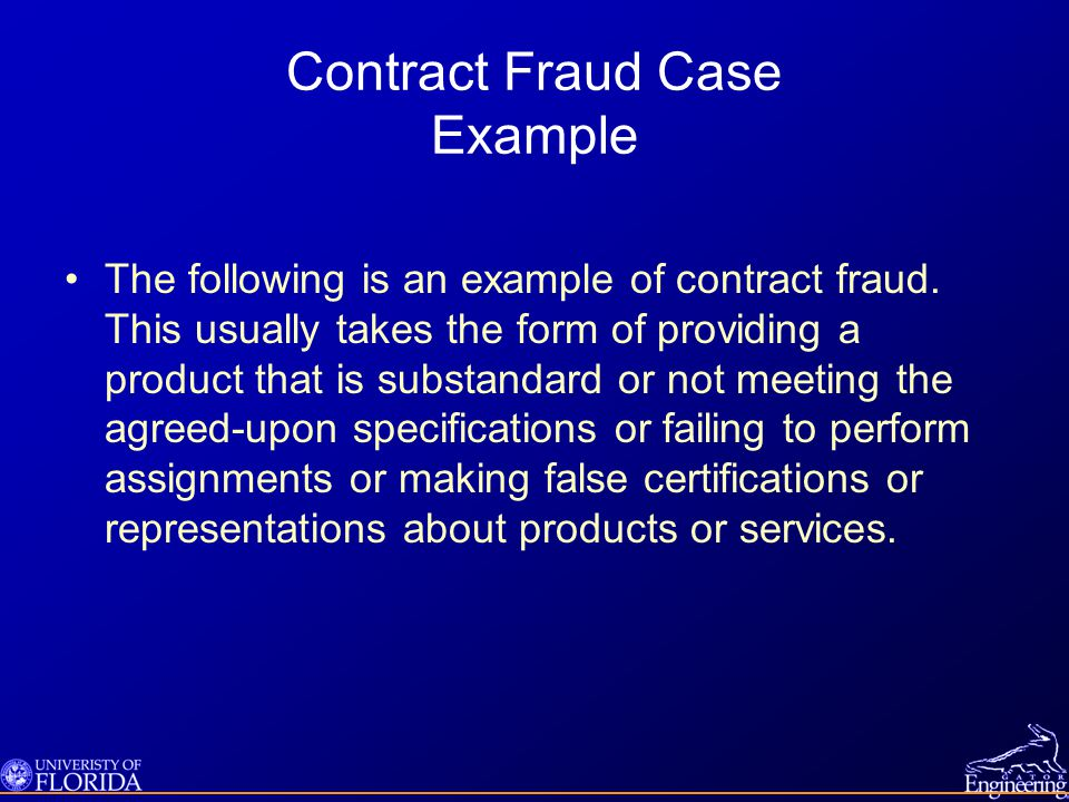 Contract Fraud Case Example