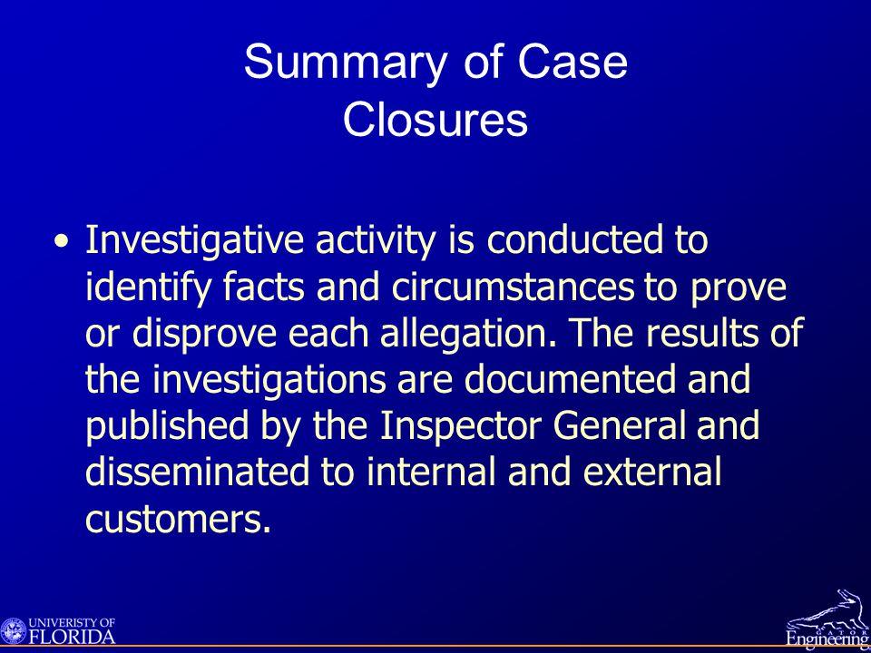 Summary of Case Closures