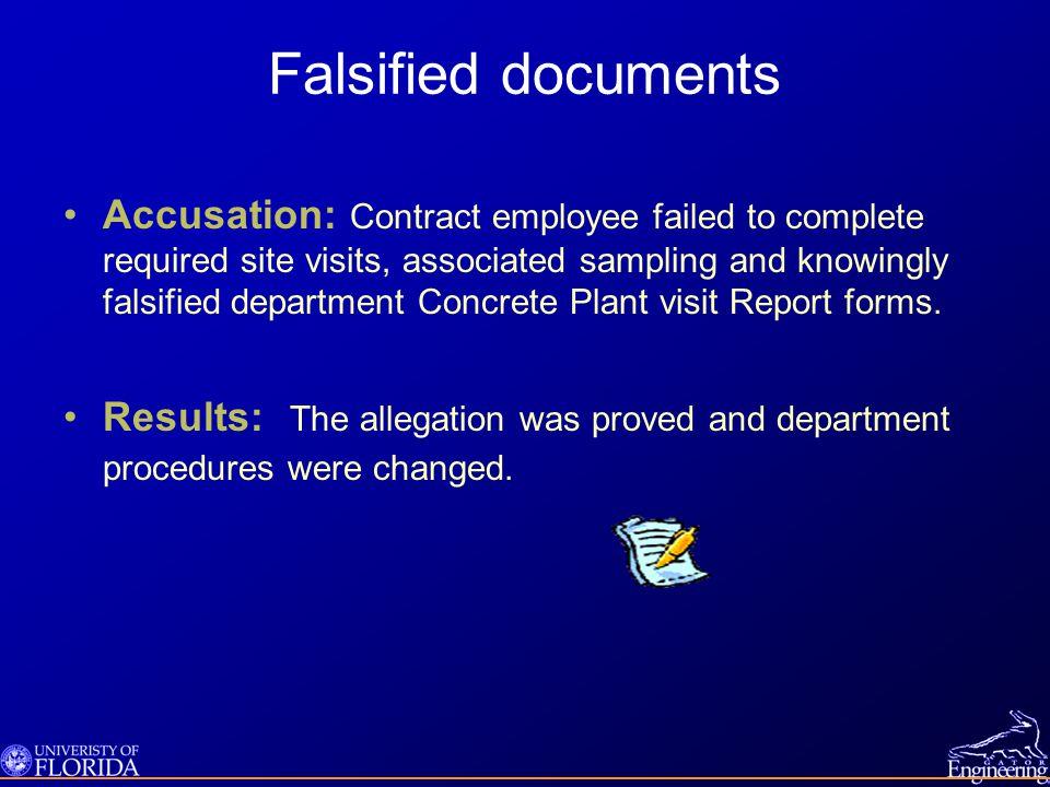 Falsified documents