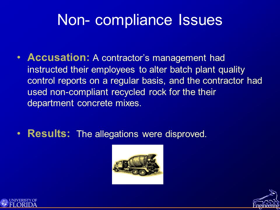 Non- compliance Issues