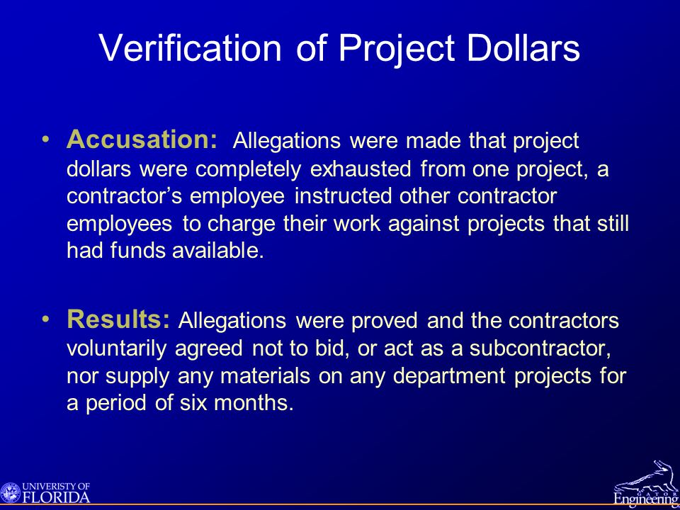Verification of Project Dollars