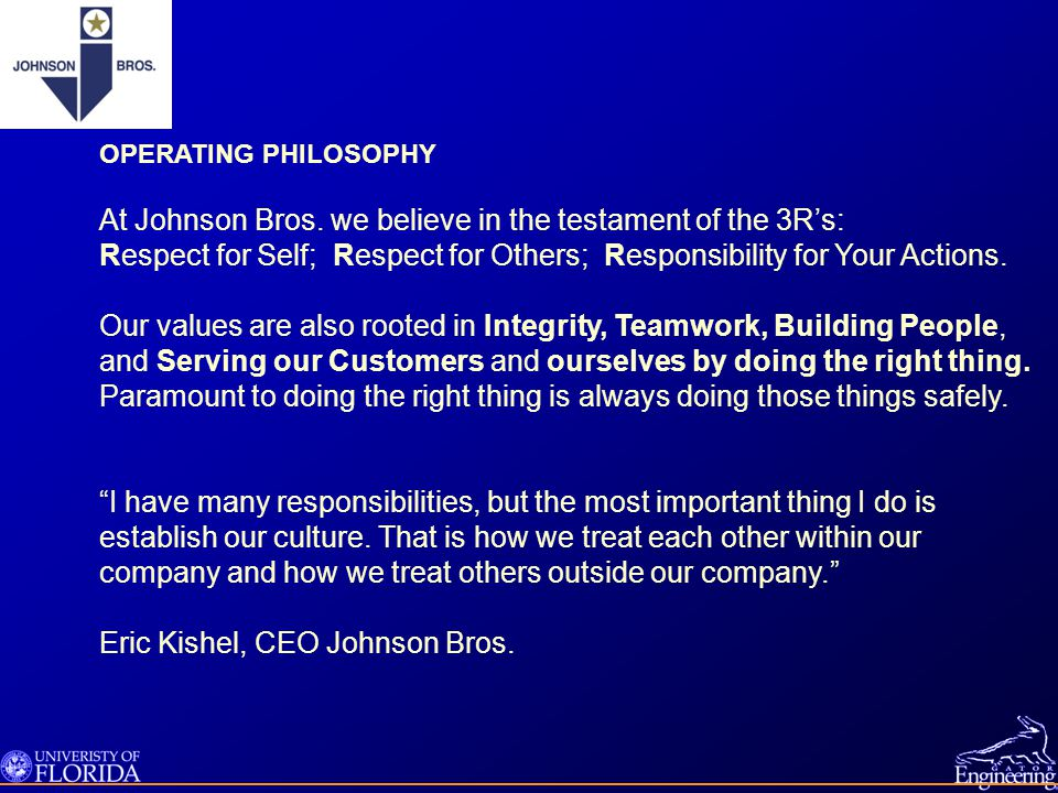 and Serving our Customers and ourselves by doing the right thing.