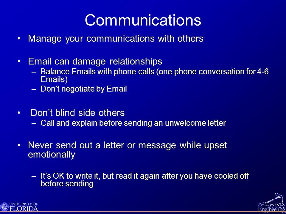 Communications Manage your communications with others