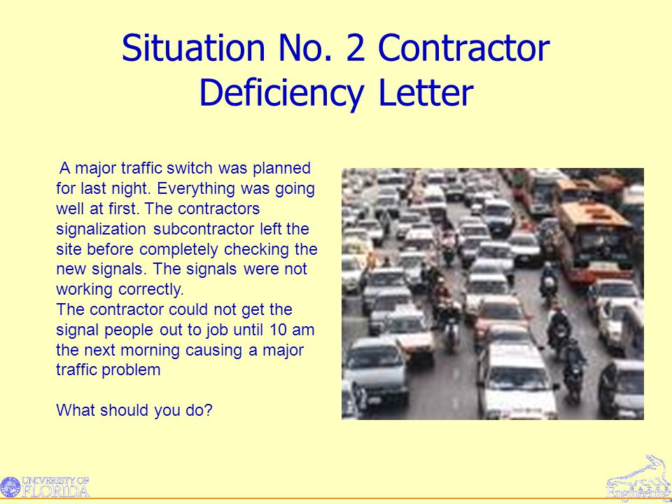 Situation No. 2 Contractor Deficiency Letter