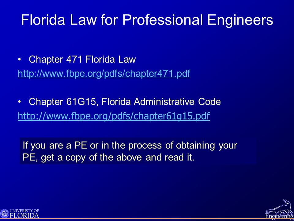 Florida Law for Professional Engineers