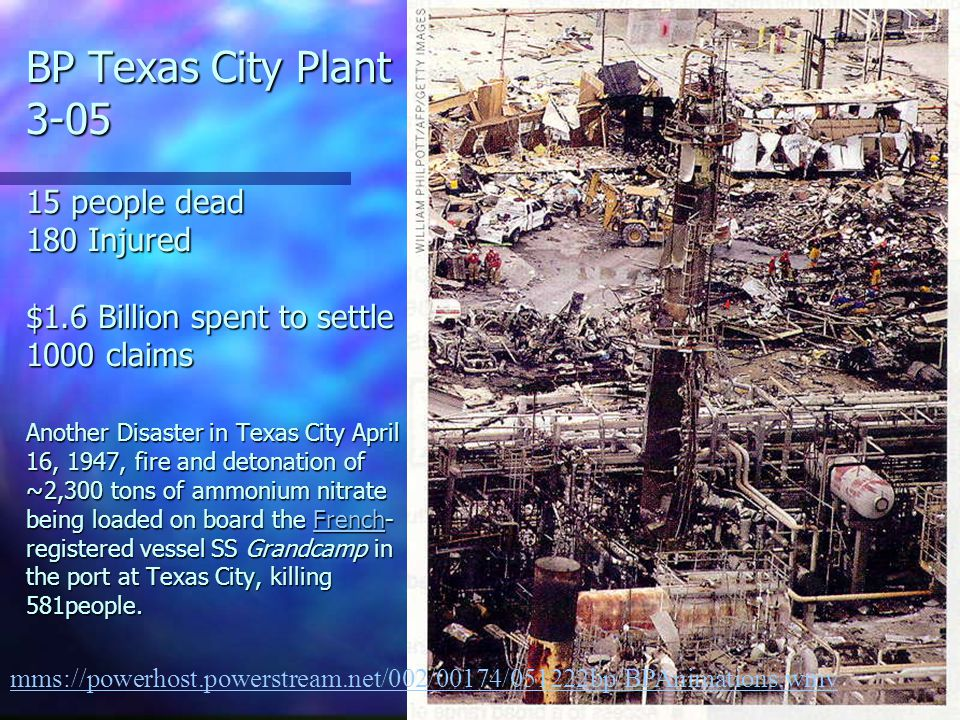 BP Texas City Plant 3-05 15 people dead 180 Injured $1