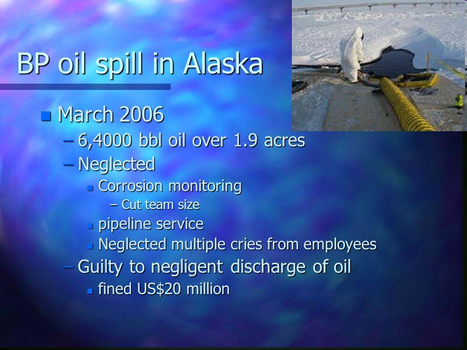 BP oil spill in Alaska March 2006 6,4000 bbl oil over 1.9 acres