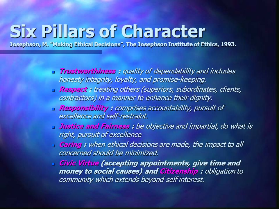 Six Pillars of Character Josephson, M