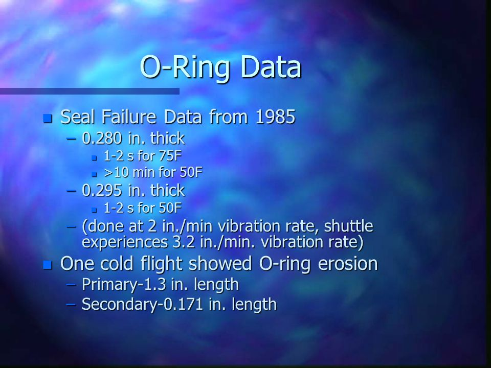 O-Ring Data Seal Failure Data from 1985
