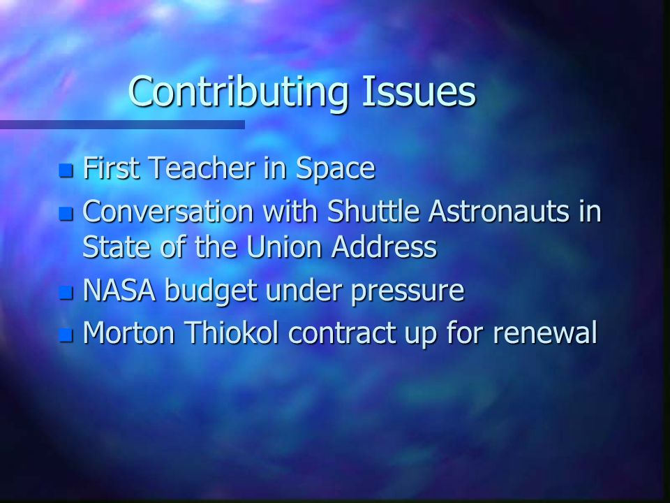 Contributing Issues First Teacher in Space