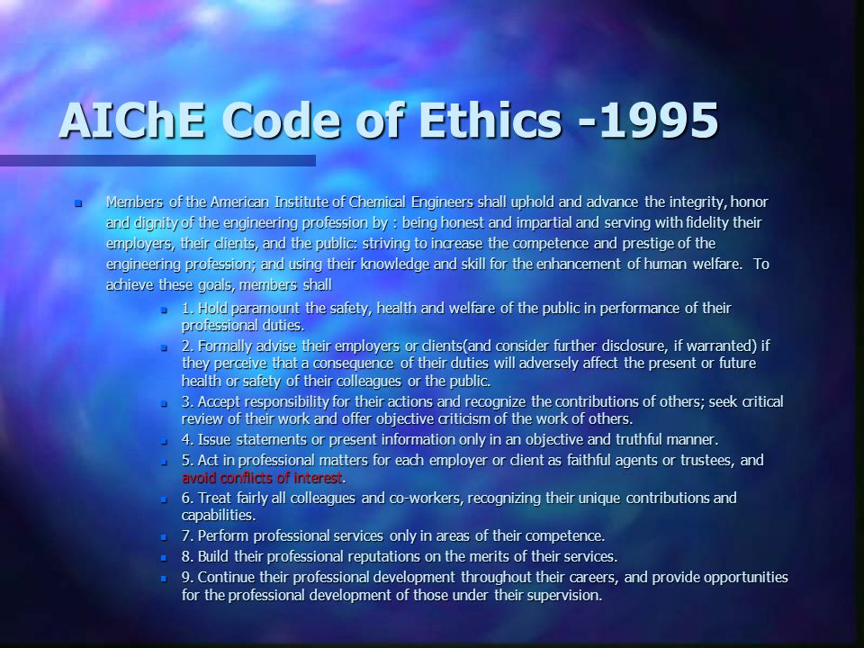 AIChE Code of Ethics -1995