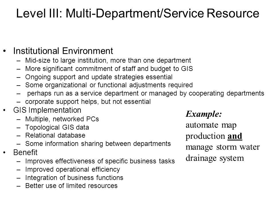 Level III: Multi-Department/Service Resource