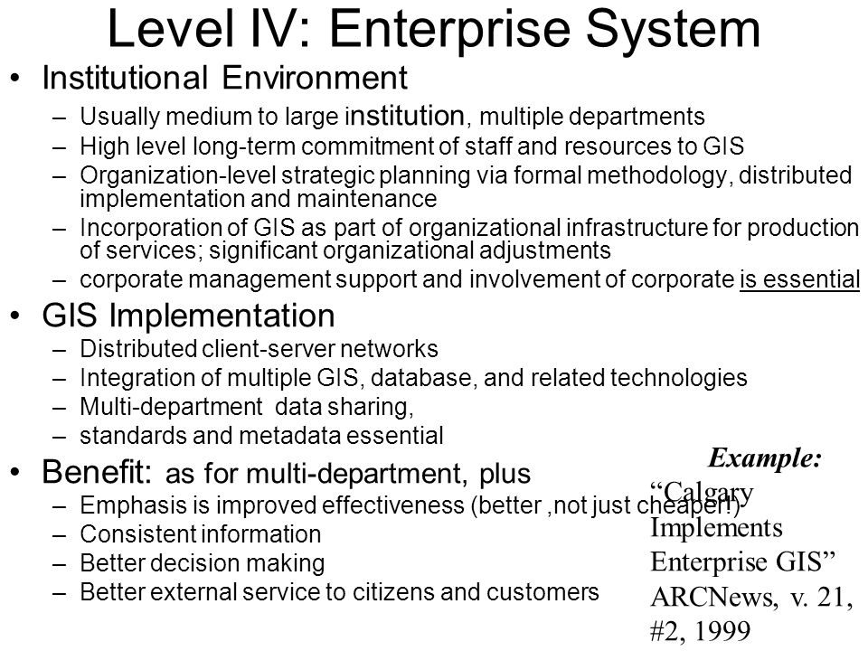 Level IV: Enterprise System