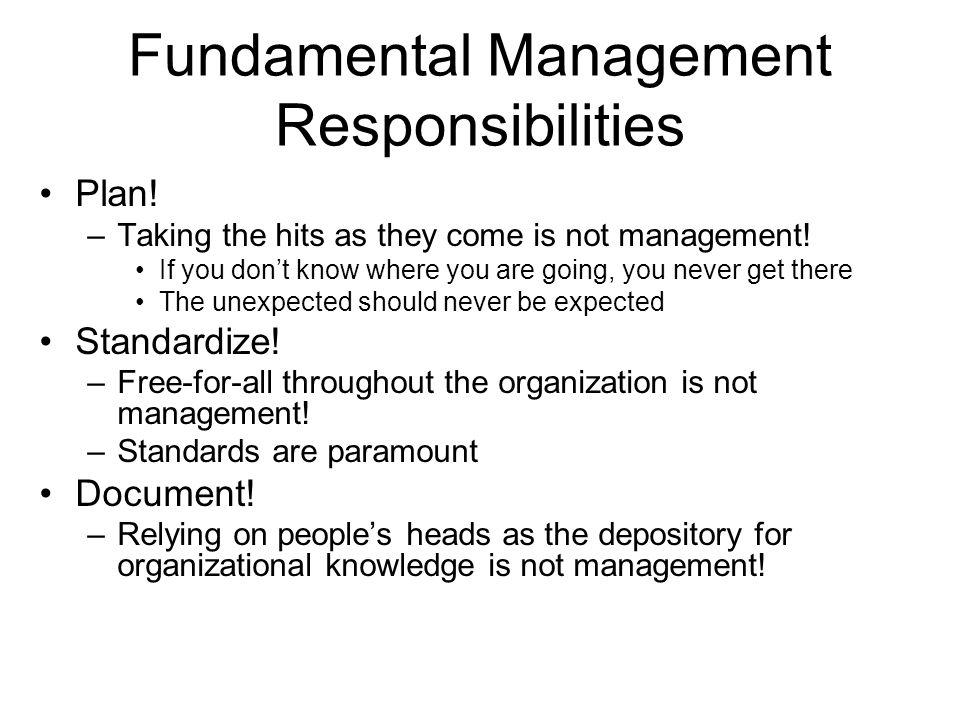 Fundamental Management Responsibilities